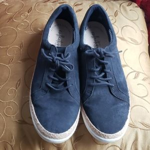 Clark's navy blue suede and rope casual sneakers